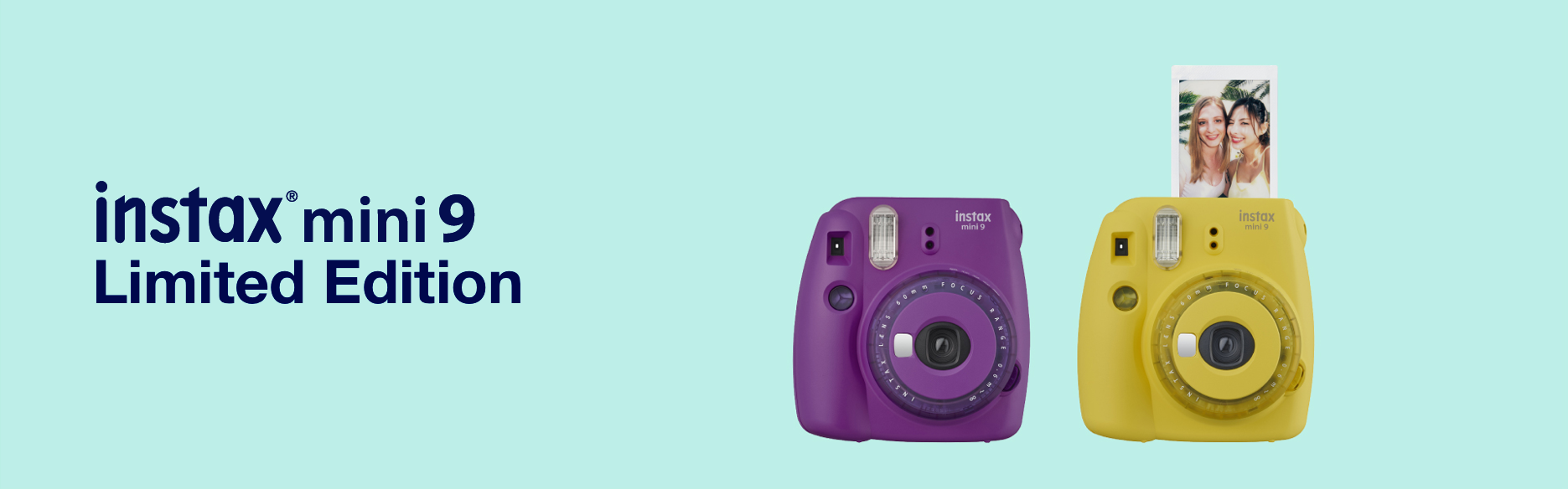 Baby blue hero image with purple and yellow mini 9 limited edition camera