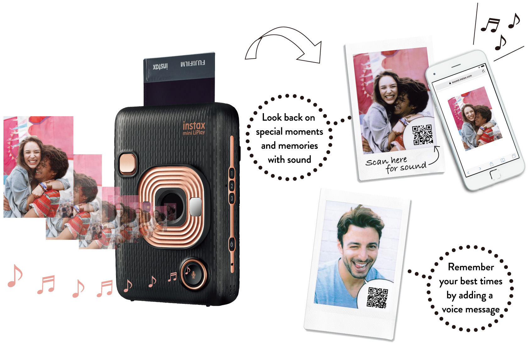 Collage of black LIPLAY camera surrounded with printed pictures