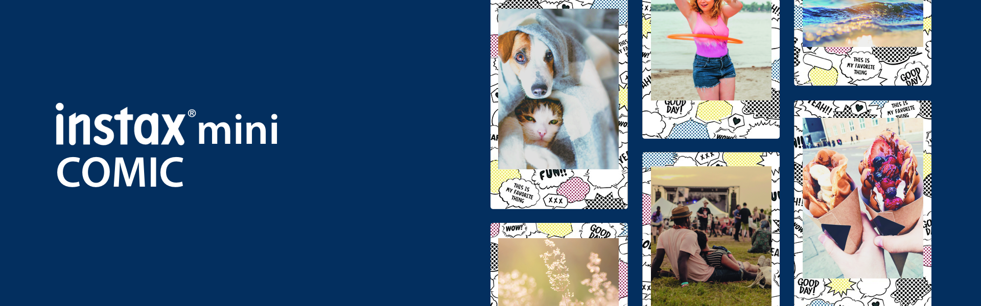 """[photo] A grid of 6 photos of different friends on a blue background and """"instax mini comic"""" text in white"""