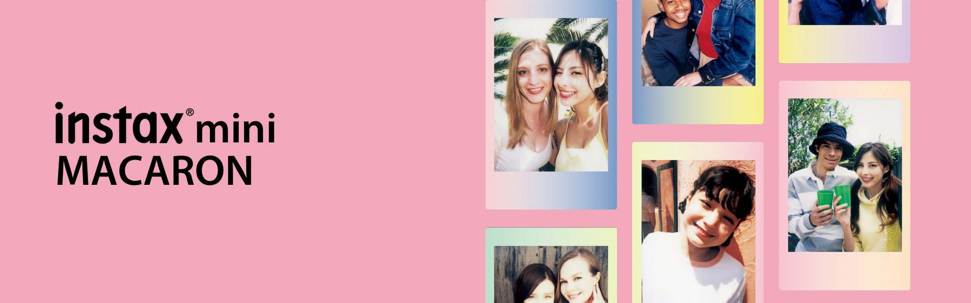 "[photo] A grid of 6 photos of different friends on a pink background and ""instax mini MACARON"" text in black"