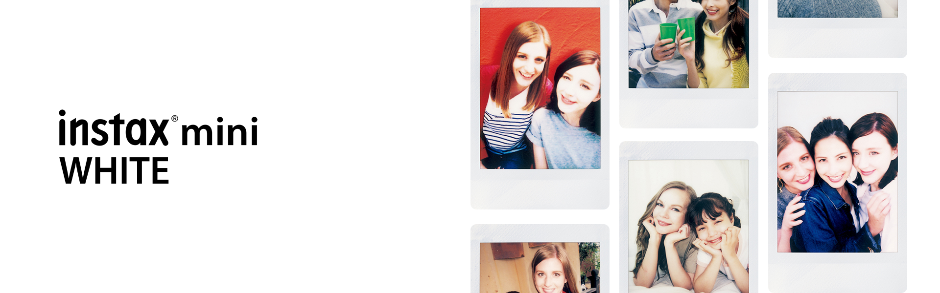 """[photo] A grid of 6 photos of different friends on a white background and """"instax mini White"""" text in white"""