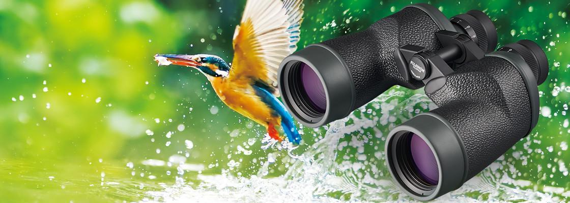 [photo] MT Series text and an MT Series Binocular with a bird catching a fish from the ocean background