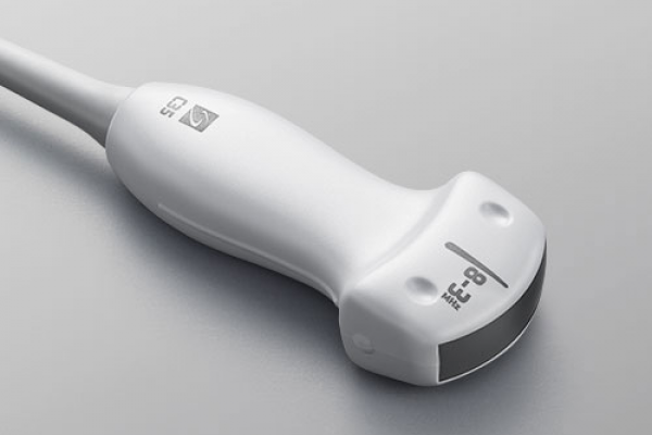 [photo] C35x transducer, lIght grey ultrasound scanner