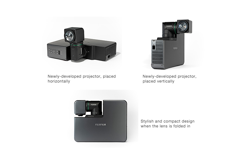 [Photo]Newly-developed projector, placed horizontally / Newly-developed projector, placed vertically / Stylish and compact design when the lens is folded in