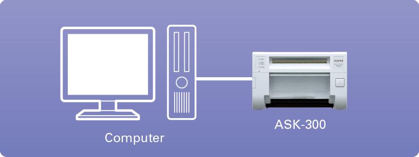 Diagramme montrant l'ordinateur connecté à l'imprimante ASK 300