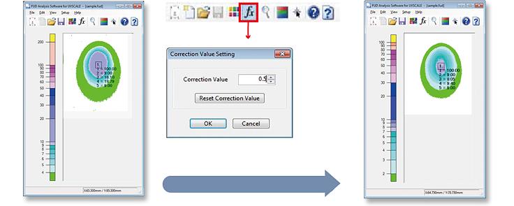 [photo] Software screenshots of the Correction Value Setting and adjuste Correction Values Screenshot