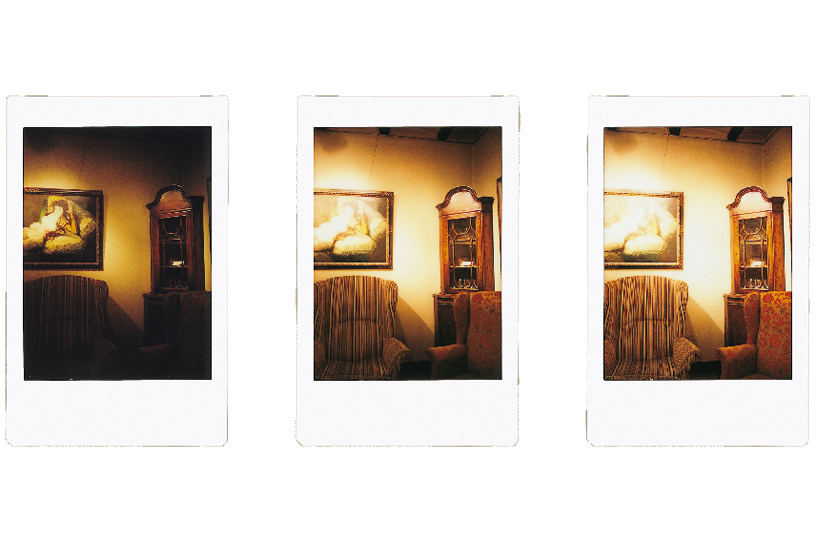 [photo] Instax mini 90 photo print outs of a living room in 3 different exposure modes