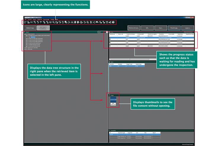 image] Capture d'écran de logiciel avec icônes de fonctions, arborescence des données, état de progression et d'inspection et affichage des vignettes en rouge.