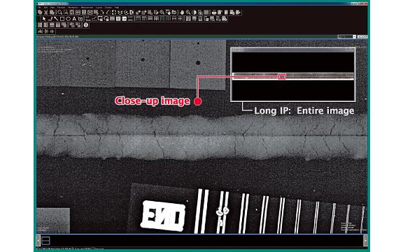 image] Capture d'écran du logiciel sur l'ensemble de image IP longue et du gros plan surligné en rouge