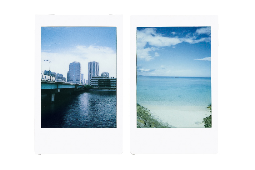 [photo] 2 Instax mini 90 photo print outs of a city skyline and a beach shore