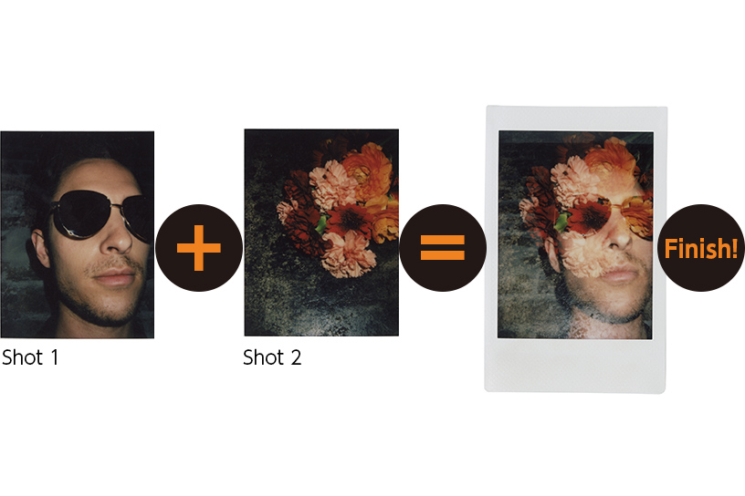 [photo] 3 Instax mini 90 photo print outs of a man with sunglasses, a flower and a merged photo of both