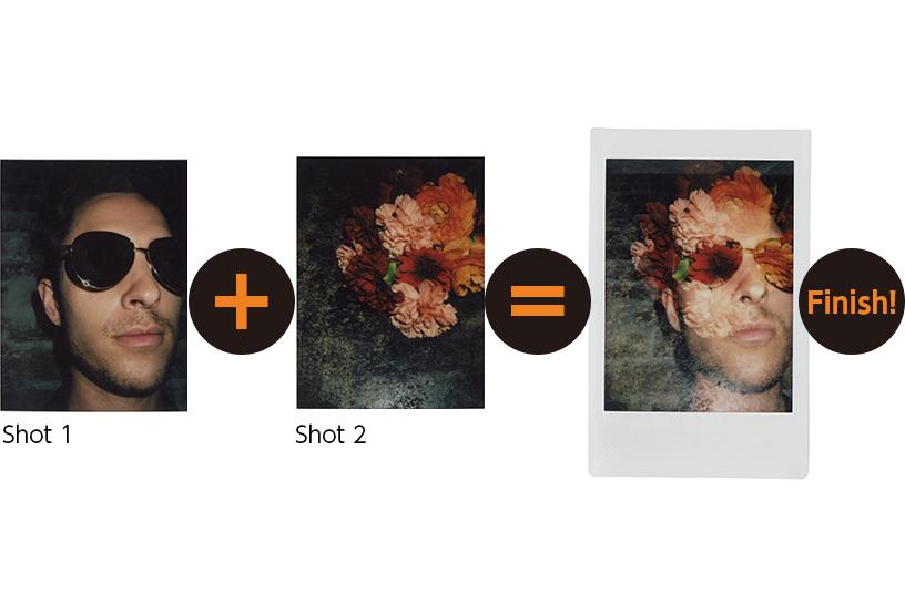Image d'une photo d'homme et d'une photo de fleur combinées en une photo à finition mixte en mode Double exposition