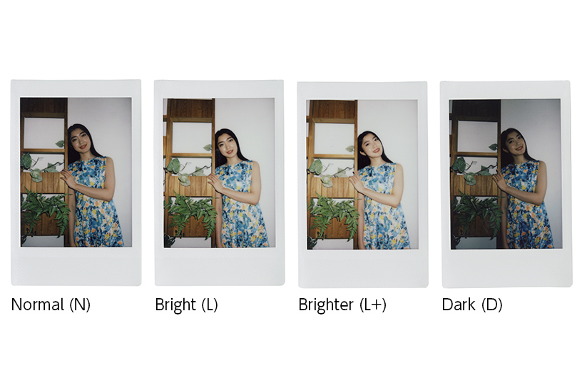 [photo] 4 Instax mini 90 photo print outs a girl leaning against wall decor in normal, bright, brighter, dark brightness levels