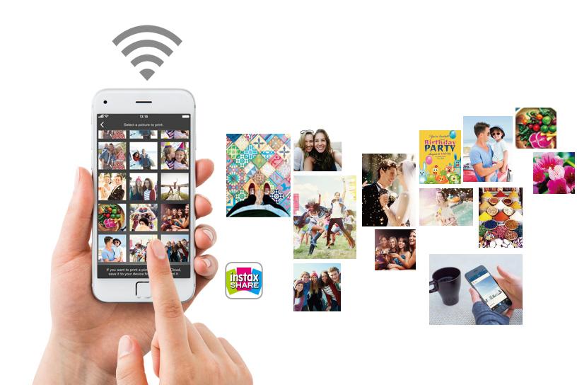 Téléphone avec collage d'images à côté