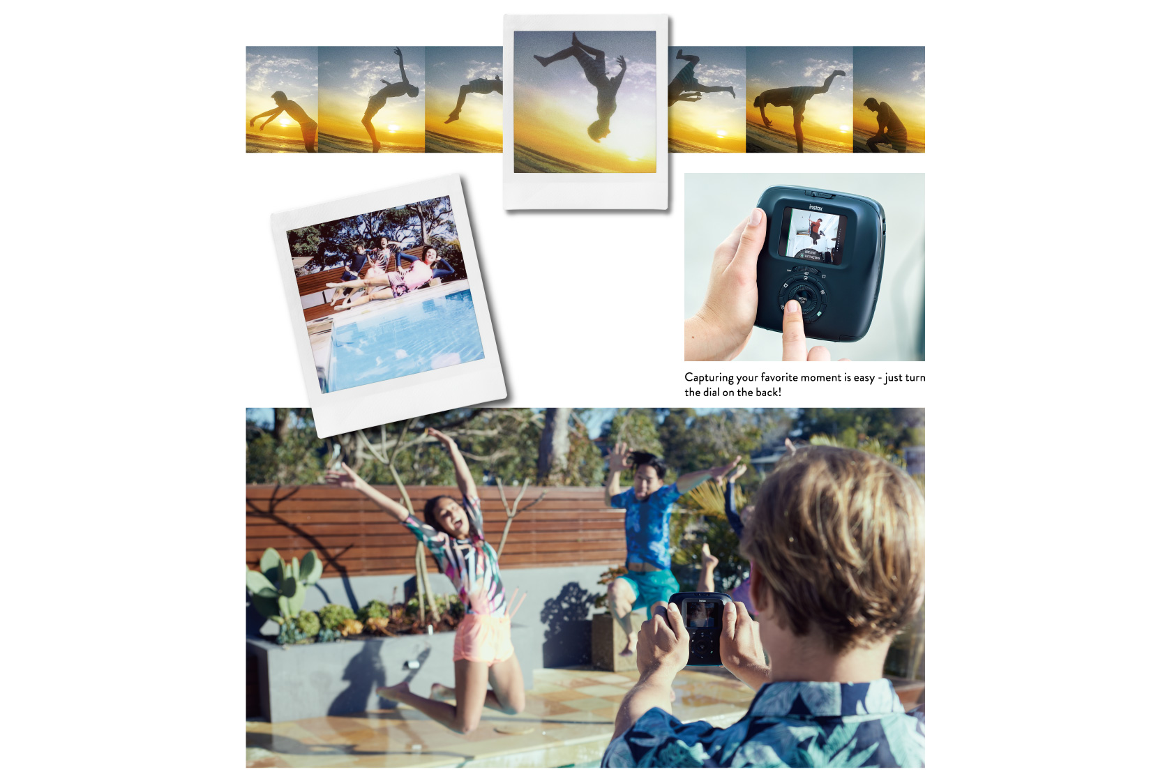 Images with a sequence of a person doing flip and a photo of girls falling into pool also image on someone turn the dail on the back of SQ20 and person shooting photo at the pool with SQ20