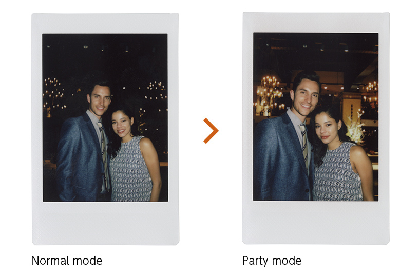 [photo] 2 Instax mini 90 photo print outs of a couple in normal mode and a party mode