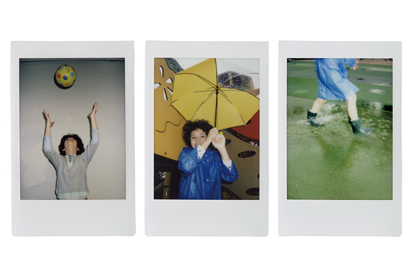 [photo] 3 Instax mini 90 photo print outs a little girl playing with a ball, an umbrella and in the rain
