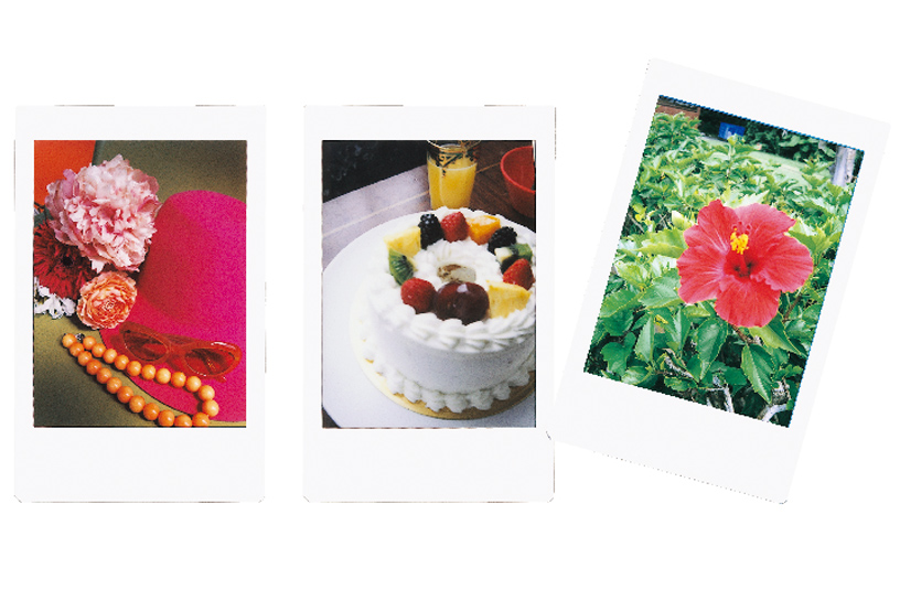[photo] 3 Instax mini 90 photo print outs of closes of a hat and other accessories, a cake and an hibiscus flower