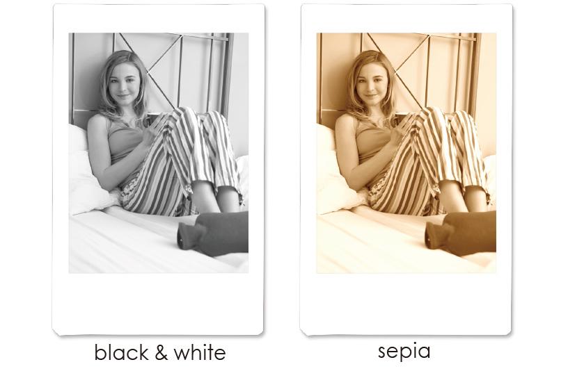 Collage ou deux images avec des filtres de couleur différents