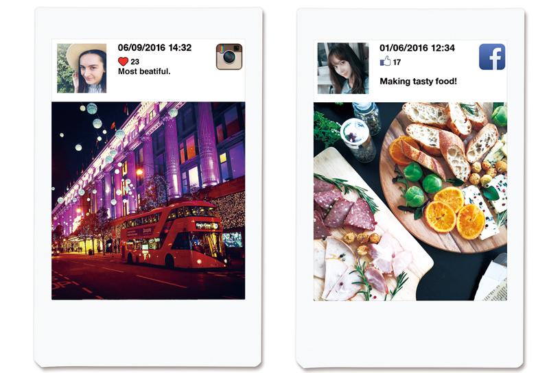 deux photos d'une rue nocturne et d'une table avec de la nourriture