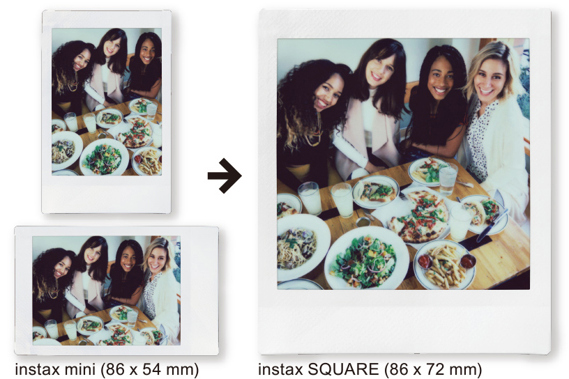Image of a vertical Instax Mini photo with three women and horizontal Instax Mini photo with four women then a vertical Instax SQUARE photo with same four women
