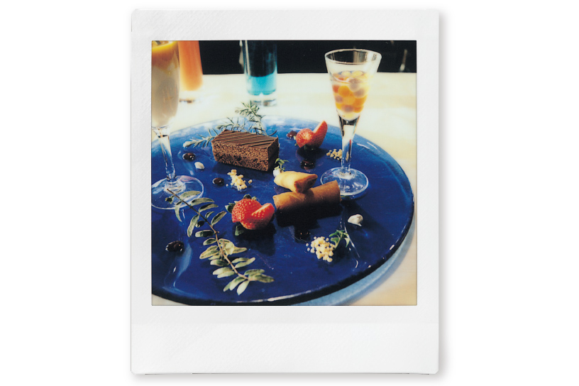 Image of a photo of a plate of dessert