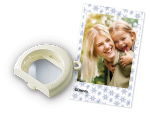 Image of Close-up lens attachment and photo of young woman and child smiling