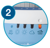 Zoomed in image showing how to adjust the dial to the lit position - Step 2
