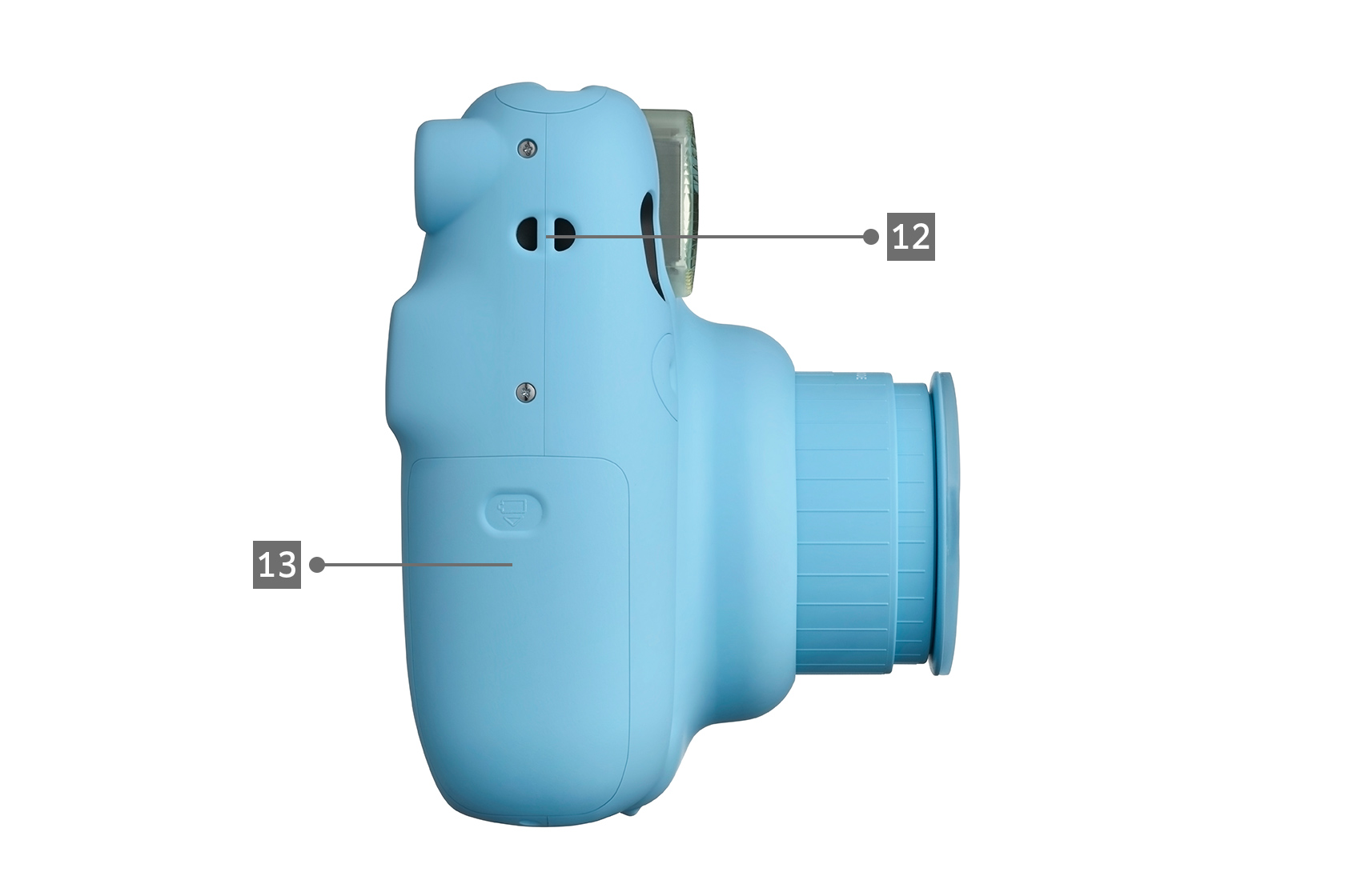 Side view of baby blue Mini 11 camera