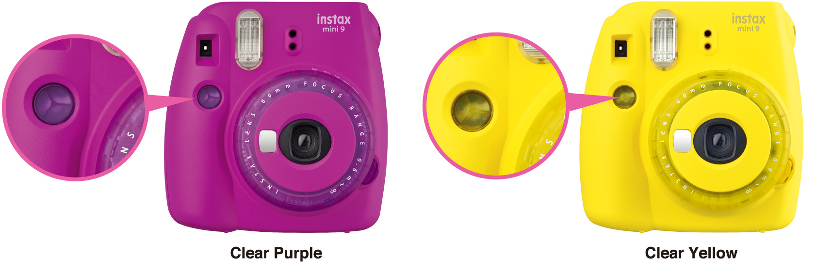 Purple and yellow mini 9 limited edition cameras