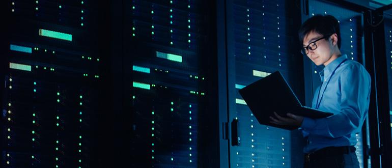 Man checking Data and status of servers.