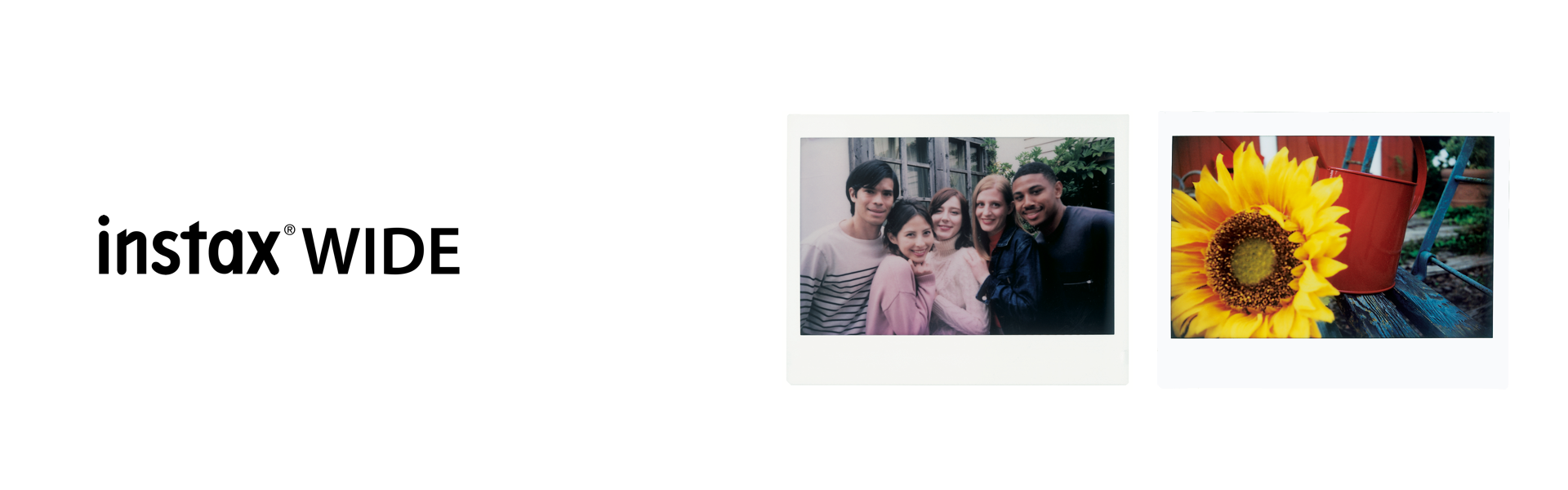 INSTAX wide title and images of people or scenic taken with INSTAX wide film