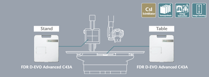 [image] In Full-Function Model, FDR D-EVO Advanced C43A can be added to X-ray stand and X-ray table
