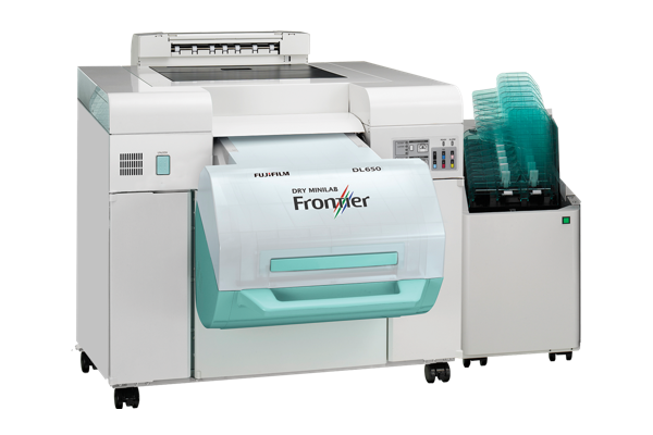 [photo] Front view of Frontier DL650 PRO Dry Minilab with Frontier logo displayed on machine