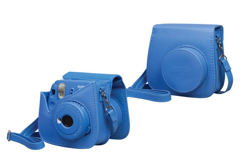 Étui bleu cobalt pour appareil photo Mini 9, ouvert et fermé