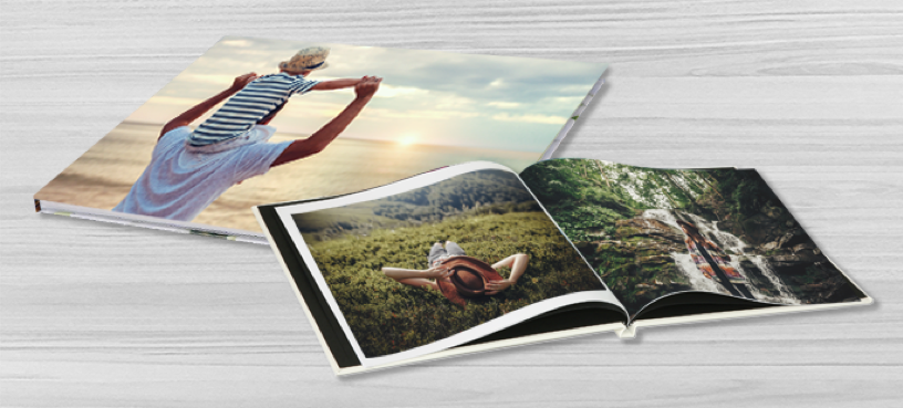 image of the front cover of a photobook and an open photobook