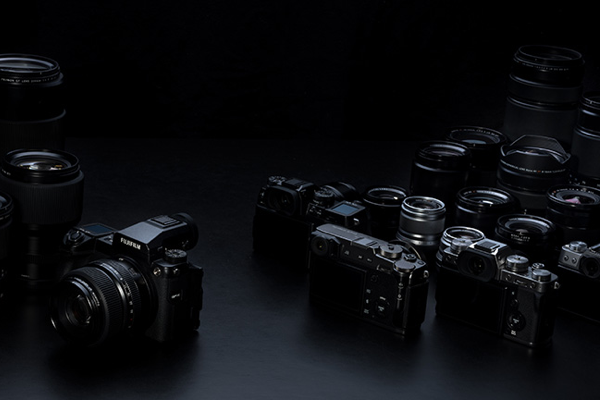 [photo] An assortment of Fujifilm cameras and lenses