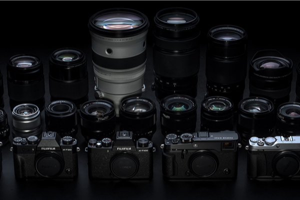 [photo] An assortment of Fujifilm cameras and lenses
