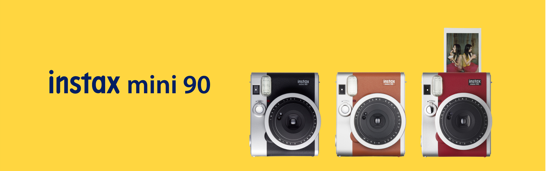 [photo] Yellow hero image with mini 90 cameras in different colors