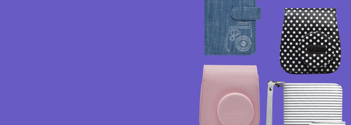 bannière violette avec plusieurs accessoires différents