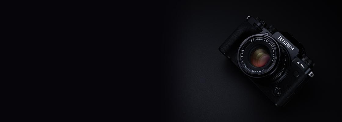 [photo] Front top view of a Fujifilm XT-4 on a black background