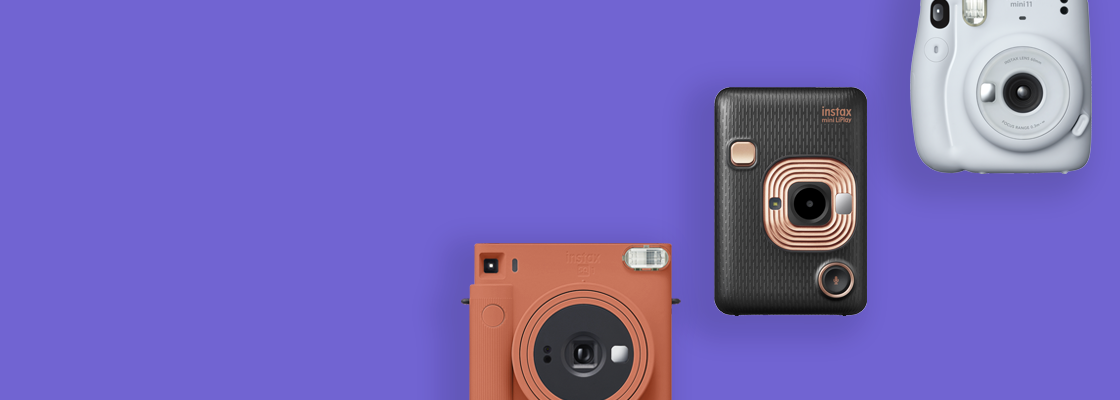 purple banner with three different cameras