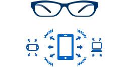 [immagine] Montature per occhiali da vista blu e schermi tablet che invia un segnale al telefono e al computer