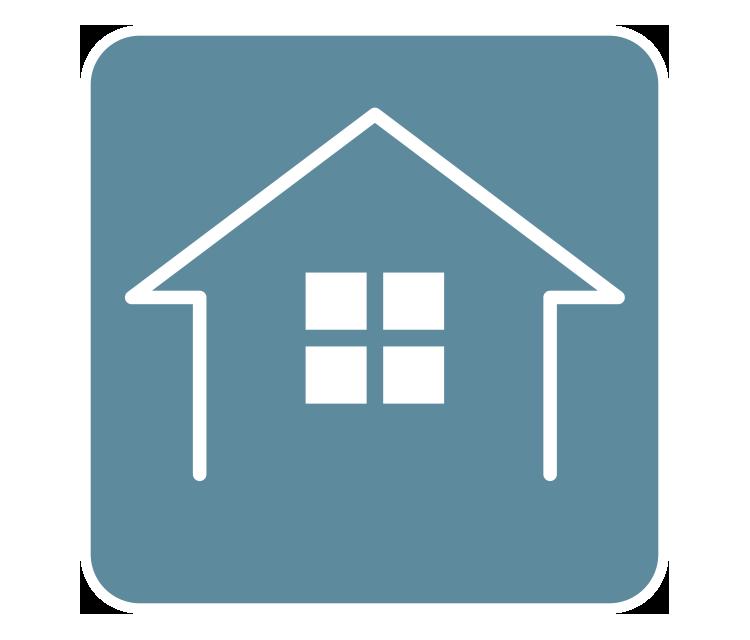 [image] Croquis numérique à contour blanc d'une petite maison avec fenêtre sur fond bleu sarcelle