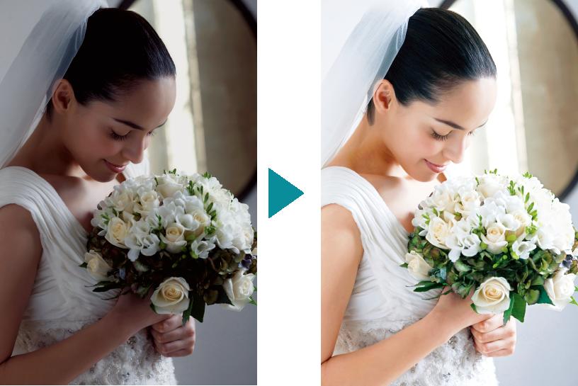 [imagen] Foto sin realzar de la novia sosteniendo el ramo a la izquierda, junto a la versión vibrante y mejorada de la misma foto a la derecha