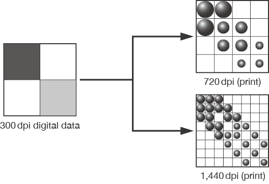 [imagen] Cuadrados que muestran 720ppp y 1440ppp de calidad de impresión utilizados incluso si los datos digitales de la imagen original eran 300ppp
