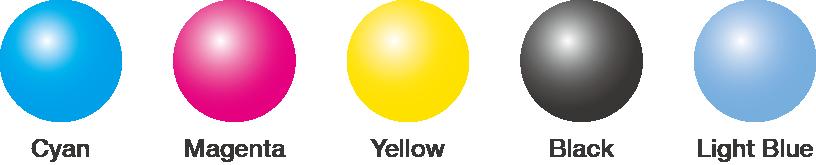 [imagen] Esferas de color, de izquierda a derecha, etiquetadas cian, magenta, amarillo, negro y celeste