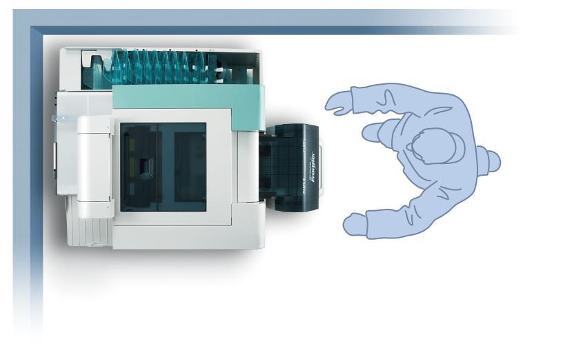 [imagen] Vista superior de la impresora Frontier DL 600 en la esquina de una habitación con dibujo de un hombre parado frente a ella
