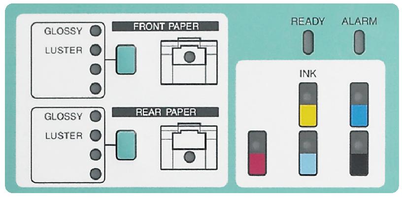 [foto] Panel frontal de operación de la Frontier DL600 que muestra las opciones para la parte frontal y posterior del papel y las luces para los 5niveles de tinta