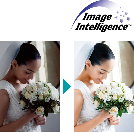 [image] Un-enhanced, dark photo of bride holding bouquet on left, next to enhanced, vibrant version of the same photo on right -Image Intelligence™